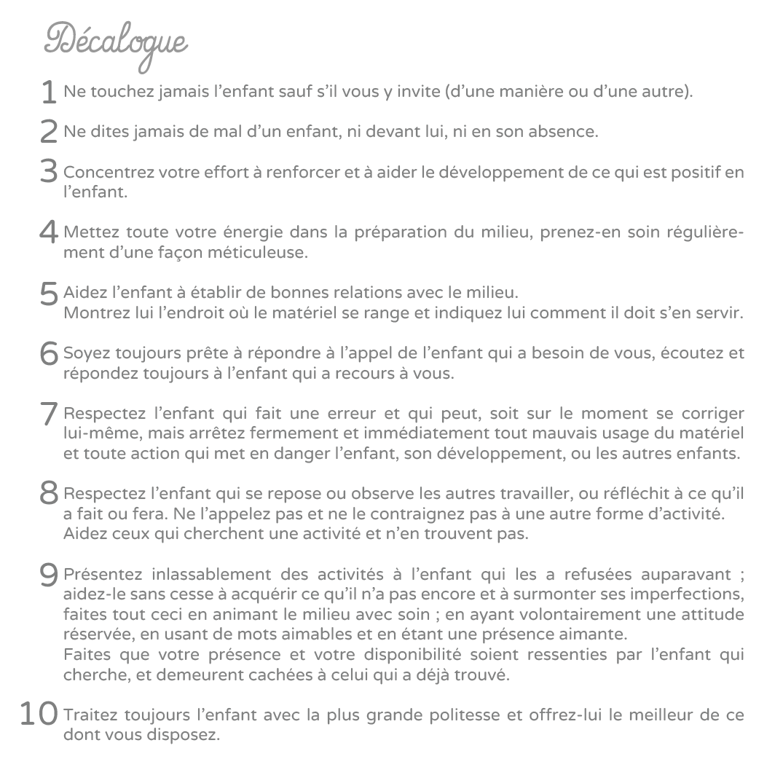 decalogue-Montessori - école Nidau - Soustons